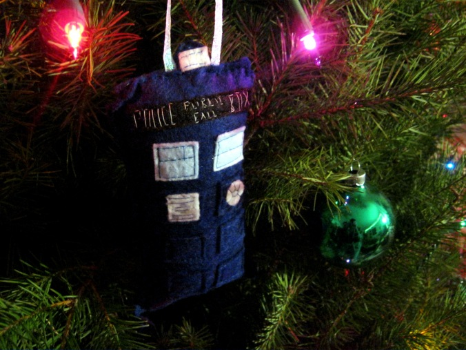 Oh YES. we did. Our first ornament as a married couple is a Tardis. If you don't know what this is, BOY do I have a great show for you to watch. =D