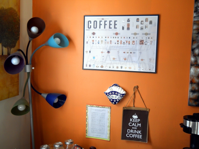 coffee nook. because...COFFEE. Note the multi-colored lights.